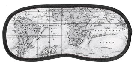 Antifaz para dormir diseño mapamundi vintage