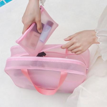 bolso playero rosa
